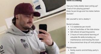 Voor dertig dollar per uur verhuurt deze man zichzelf aan alle alleenstaande moeders om hen te helpen