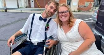 Volgens de artsen zou ze niet meer kunnen lopen of kinderen kunnen krijgen: op haar trouwdag is ze 4 maanden zwanger en loopt ze door het gangpad