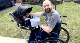 Ze maken een rolstoel met wandelwagen voor deze gehandicapte vader: nu kan hij zonder problemen op pad met zijn zoon
