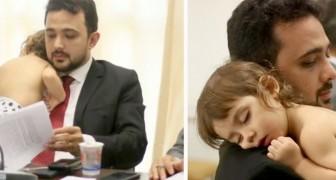 Sostiene a la hija en sus brazos durante una reunión de trabajo: la foto de este papá cariñoso emociona a la web