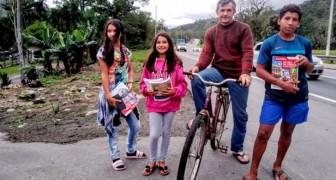 Alleinerziehender Vater radelt jeden Tag 28 Kilometer, damit seine Kinder ihre Schularbeiten machen können