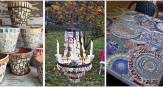 Tazzine di ceramica e piatti rotti? Riciclali per decorare mobili e oggetti in casa o in giardino