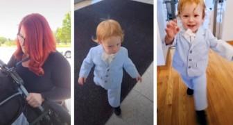 Elle emmène son fils d'un an à l'entretien d'embauche et l'habille d'une veste et d'un nœud papillon