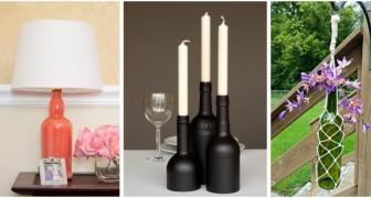 Trasforma le bottiglie in vetro del vino in fantastiche decorazioni per la casa e il giardino