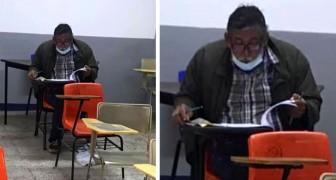 Um homem realiza seu sonho e se matricula na universidade: sua foto em sala de aula circula na web