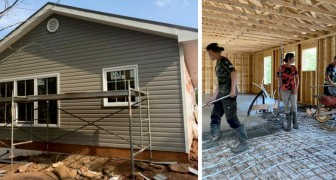 A homeless family live camped in a garden: the local community volunteer and build a house for them