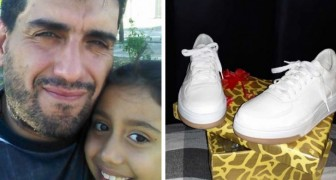 He offers to work in exchange for a pair of shoes for his daughter: a woman gives them to him without asking for anything in return