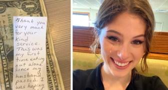 Kellnerin ist von der Nachricht einer alten Dame gerührt, die allein im Restaurant erschienen war
