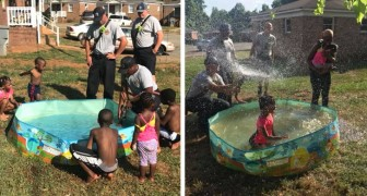 A mother struggles to fill the pool for her daughter's birthday: firefighters save the day
