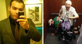 Hij komt vast te zitten in de lift met een 79-jarige vrouw: hij doet alsof hij een menselijke stoel is om haar te laten rusten