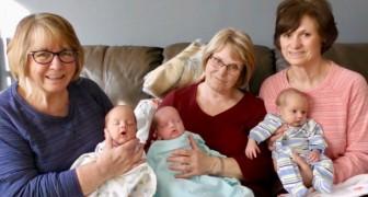 Alleenstaande moeder is uitgeput en vraagt om hulp bij het zorgen voor haar drieling: 3 grootmoeders beantwoorden de oproep
