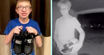 En mobbare slänger hans skor i toaletten men en skolkamrat bestämmer sig för att köpa ett nytt par åt honom