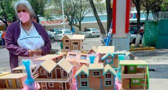 Uma avó pobre constrói casas de papelão em troca de comida: ela faz de tudo para sobreviver