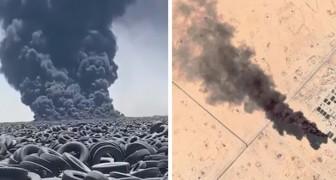 Brucia il cimitero di pneumatici più grande del mondo: si teme un disastro ambientale