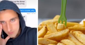 Er isst Chips vom Teller seines Freundes: Er bittet um eine Überweisung von 40 Cents