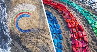 Un'artista raccoglie la plastica dai mari e la trasforma in colorate opere d'arte che ci fanno riflettere