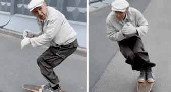 Aos 73 anos, ele ainda consegue andar de skate como um adolescente: suas habilidades correram pela web