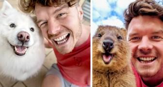 Giovane fotografo stringe amicizia e scatta divertentissimi selfie con gli animali che incontra in giro per il mondo