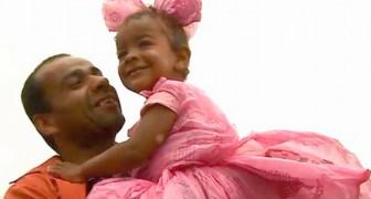 Não podendo comprar um vestido de princesa para a filha, o pai o faz de sacolas de plástico