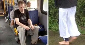 Un indigente viaja en el autobús descalzo, un hombre se da cuenta y le regala sus zapatos