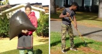 Sospeso da scuola, la mamma decide di punirlo facendogli buttare la spazzatura e tagliare il prato dei vicini
