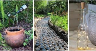 Recyclez les bouteilles en verre de façons créatives pour décorer le jardin