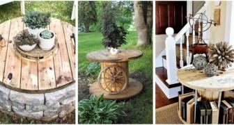 Vous cherchez des idées pour réaliser des meubles de style rustique ? Recyclez de façon créative les tourets en bois
