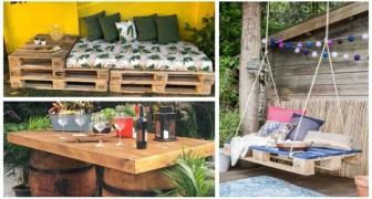 Arreda il tuo giardino con tavoli e salotti fai-da-te riciclando pallet e non solo