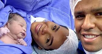 Se burlan de él tras publicar la foto del recién nacido junto a su esposa: el niño tiene la piel demasiado clara