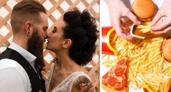 Die Braut wünscht sich Pizza und Sandwiches von McDonald's auf der Speisekarte: eine untraditionelle und billige Hochzeit