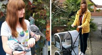 Questa ragazza spende oltre 4500€ l'anno per accudire e viziare due piccioni