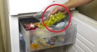 Congelando dei chicchi d'uva, quest'uomo vi svela un segreto... rinfrescante!