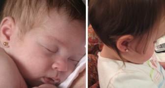 En mamma tar hål i öronen på den 2 månader gamla dottern utan pappans tillstånd - han blir vansinnig