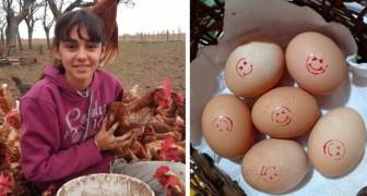 Esta joven ha comenzado a criar gallinas cuando tenía solo 14 años: hoy tiene 800 y vende sus huevos