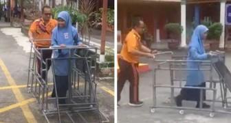 Insegnante costruisce un carrello speciale per i suoi studenti ciechi: Così possono esplorare il mondo esterno
