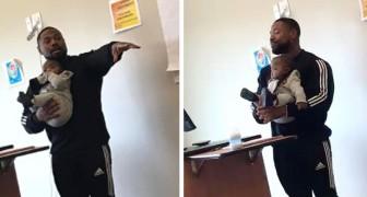 Un professore tiene in braccio il figlioletto di una studentessa che non è riuscita a trovare una babysitter