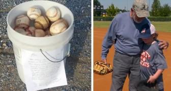 """Ein Vater findet einen Eimer mit alten Baseballs und einer bewegenden Notiz: """"Genießt die Zeit mit euren Kindern"""""""