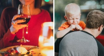 A young woman asks a couple to leave a restaurant because their son is crying and yelling too much: He's ruining my dinner