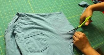 Elle découpe les manches d'un vieux t-shirt... Une création à essayer!