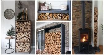 Legna per il caminetto: sistemala comodamente vicino al fuoco con queste soluzioni pratiche e belle