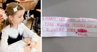 Bimba scrive un messaggio alla sua insegnante: C'è un alunno che non ha soldi per pagare, li metto io per lui