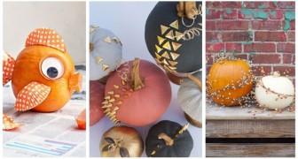 Vuoi decorare con le zucche senza doverle intagliare? Ci sono mille modi uno più bello dell'altro per farlo