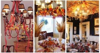 Rami e foglie variopinte sui lampadari: tutta la magia dell'autunno per un decoro originale e creativo
