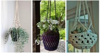 Porta piante da appendere fatti a mano: confeziona dei fantastici basket con l'uncinetto