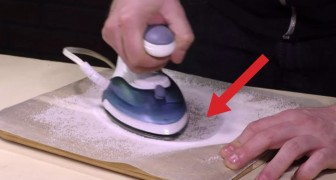 He moves the iron on wax paper for a minute... The result is brilliant!