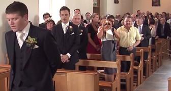 La mariée va faire son entrée: la manière dont le mari l'accueille est une merveille!