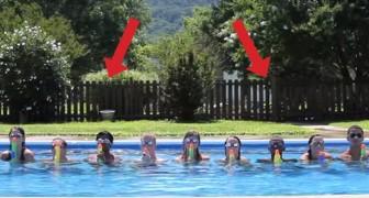 Un gruppo di ragazzi si posiziona in piscina. Quando inizia la musica... Wow!
