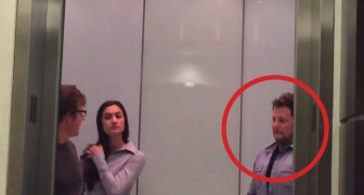 People get in the elevator ... but what  this man does is EVIL !