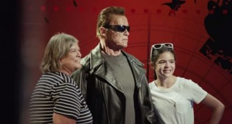 They take a picture with the statue of Terminator, but something unexpected is about to happen...