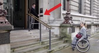 Uma mulher com deficiência física não consegue subir as escadas, mas espere até ver o que acontece apertando um só botão!